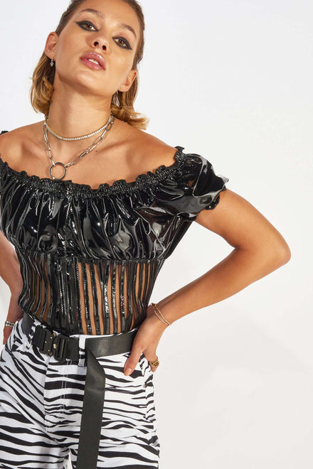 Vinyl PU Gypsy Top with Hook & Eye Fastening