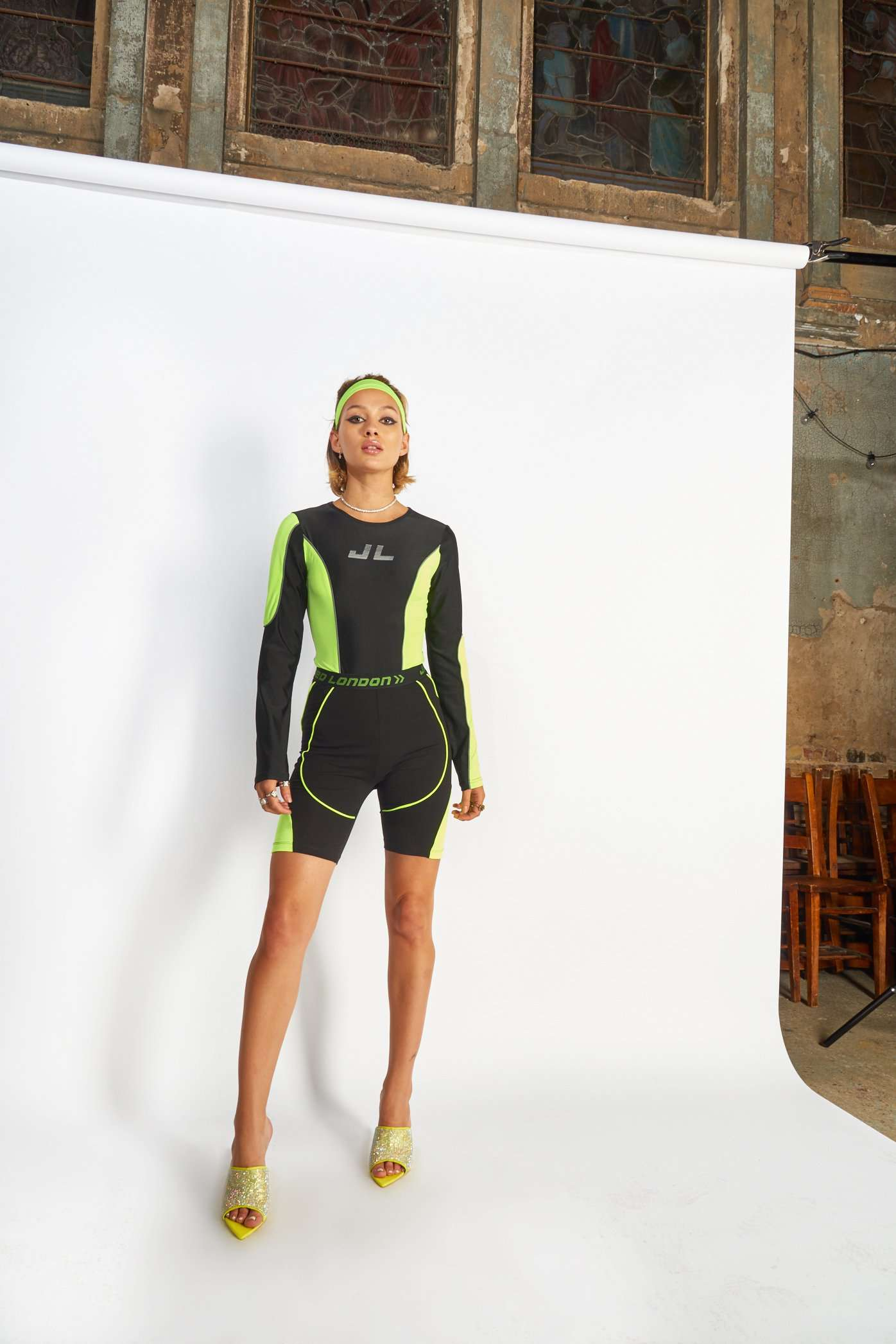 Neon Panelled Cycling Shorts