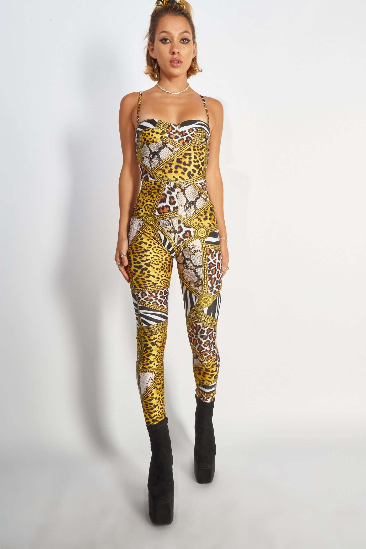 Animal Clash Catsuit With Cup Detail
