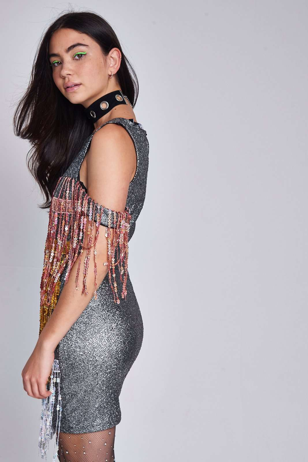 Sequin Fringed Mini Dress