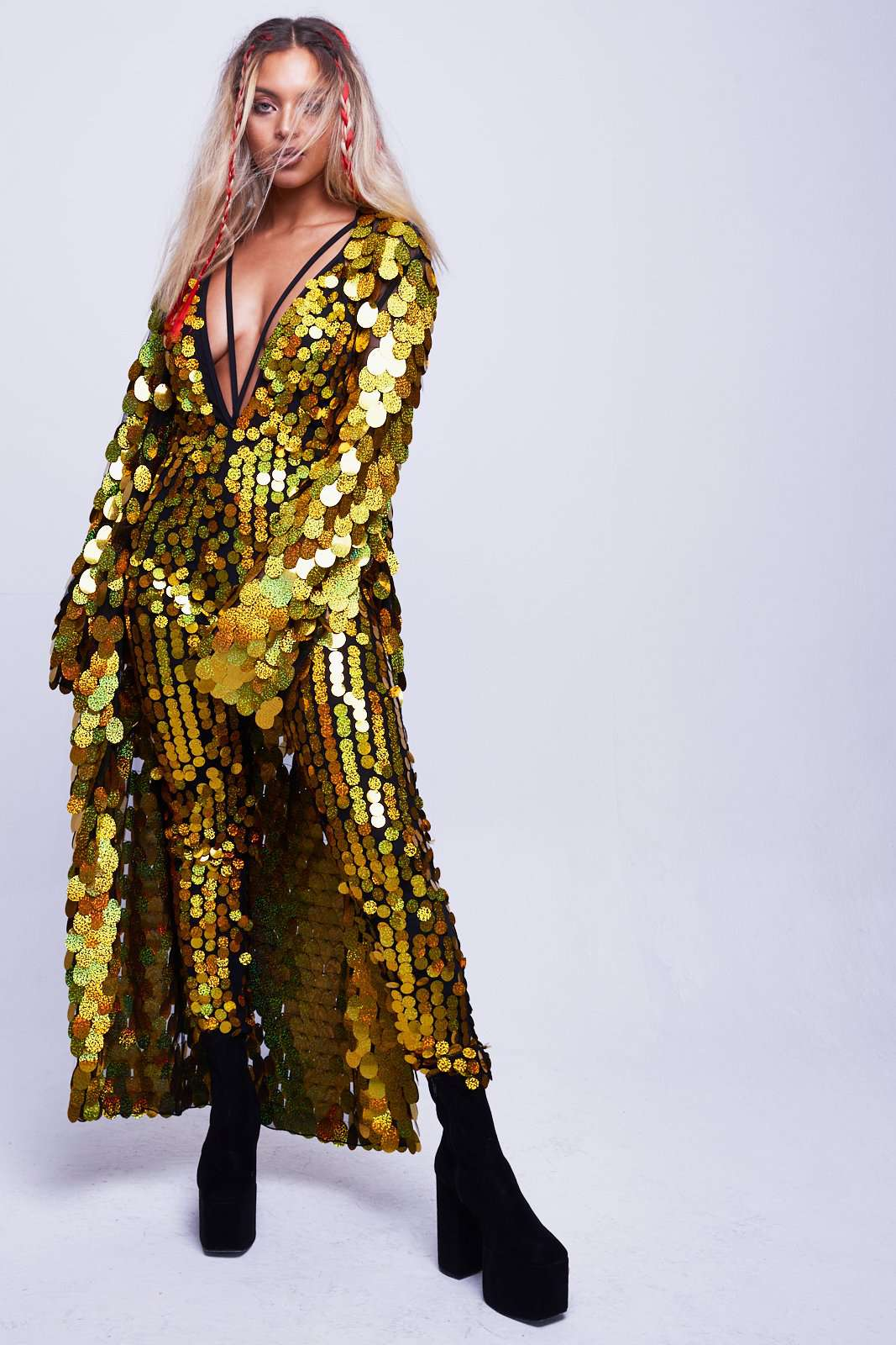 Gold Hologram Disc Sequin Plunge Catsuit