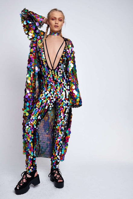 Rainbow Sequin Plunge Catsuit