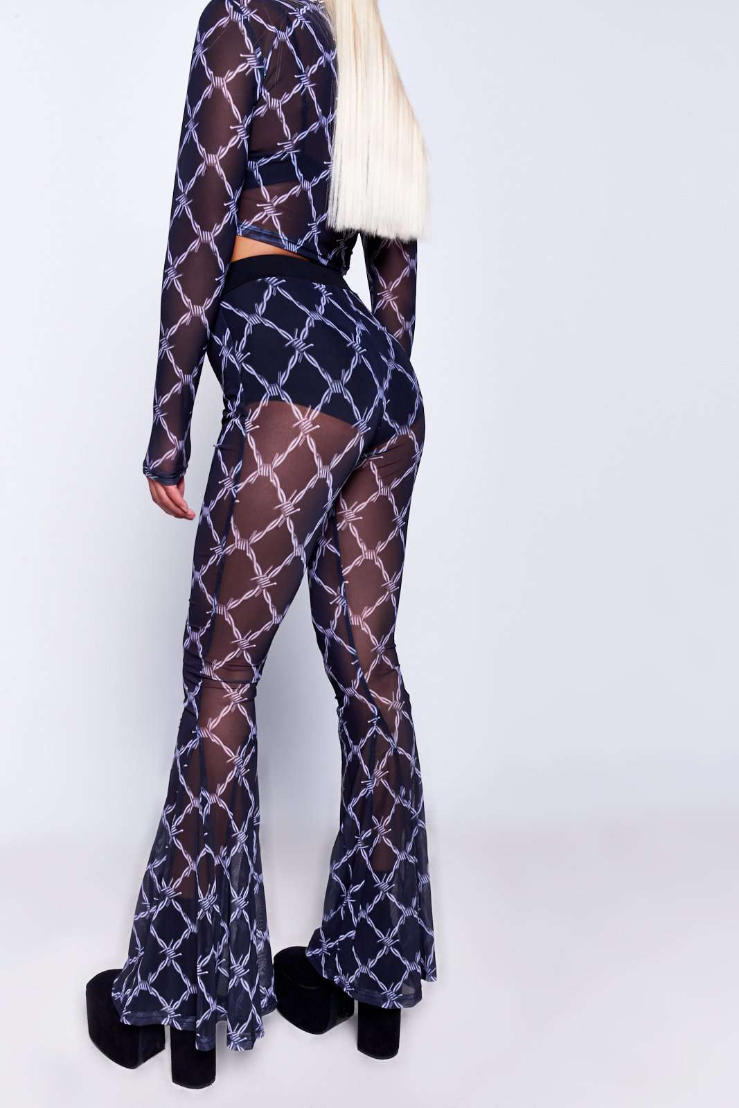 Barbed Wire Printed Mesh Flares Jaded X Dolls Kill