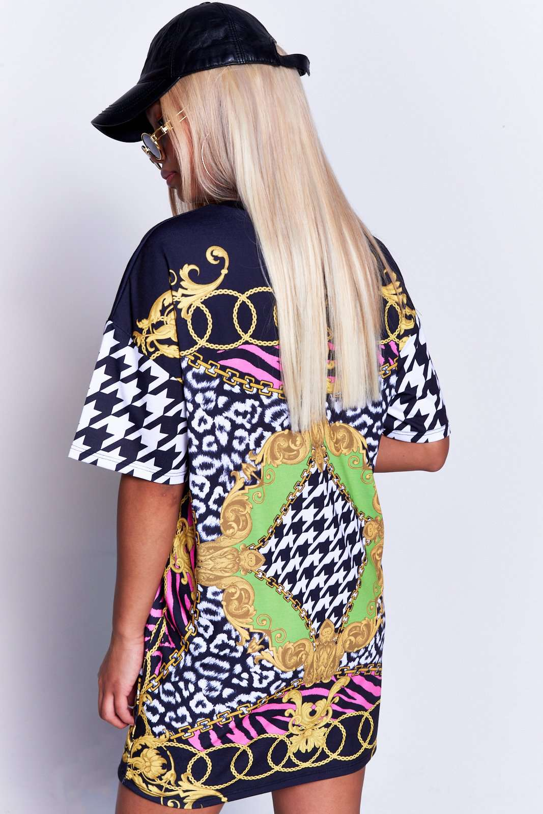 Oversized Scarf Print T-Shirt Dress