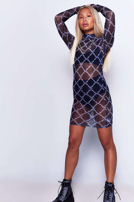 Barbed Wire Print Mesh Dress Jaded X Dolls kill