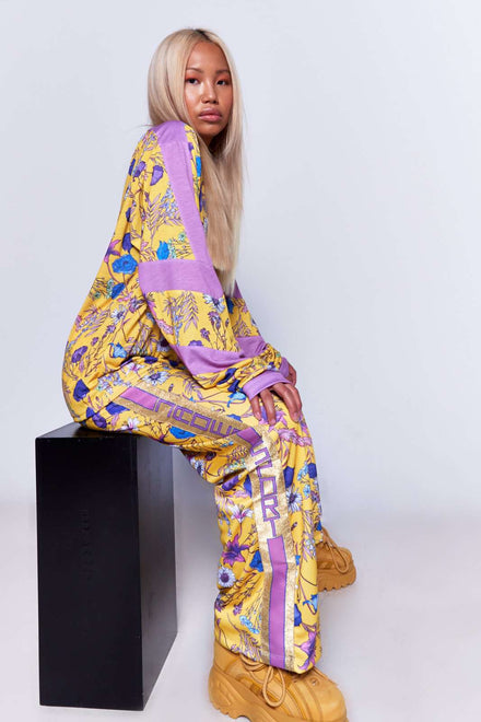 Yellow Floral Joggers With Taping