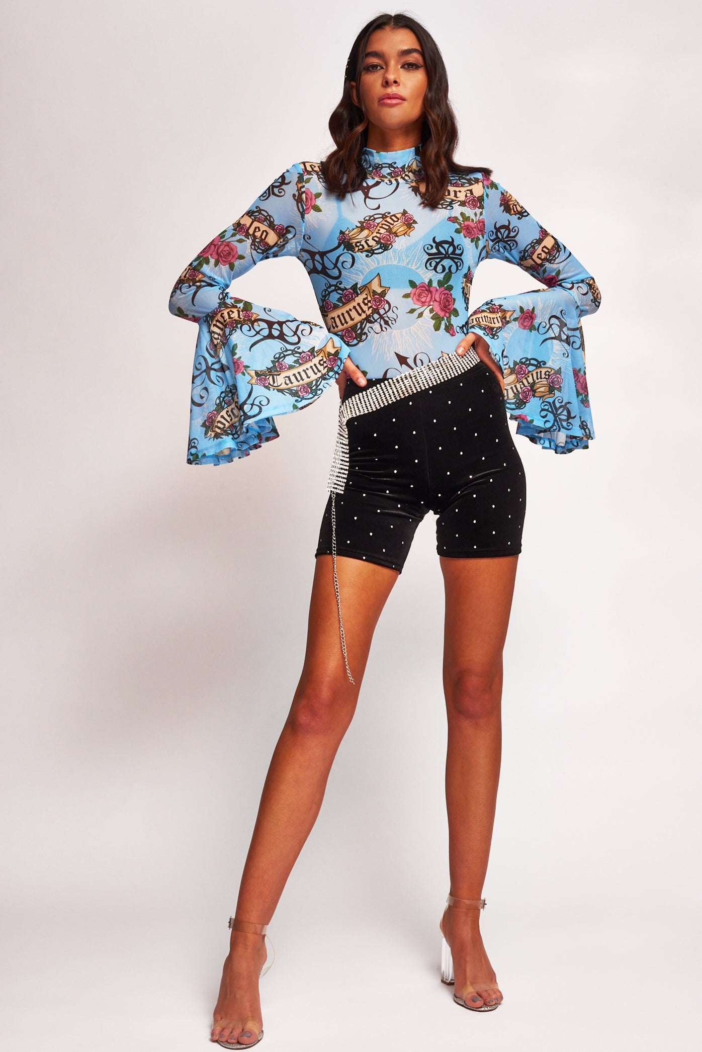 Astrology Print Flared Sleeve Mesh Bodysuit