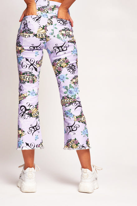 Lilac Astrology Print Kick Flare Jeans