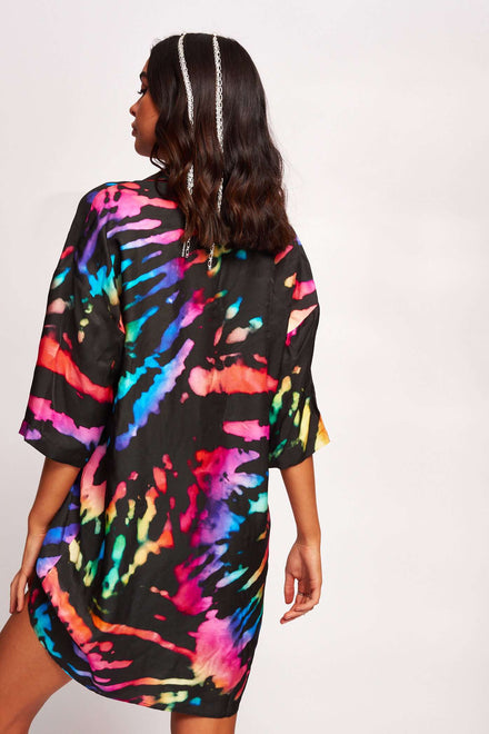 Rainbow Tie Dye Revere Collar Shirt Dress