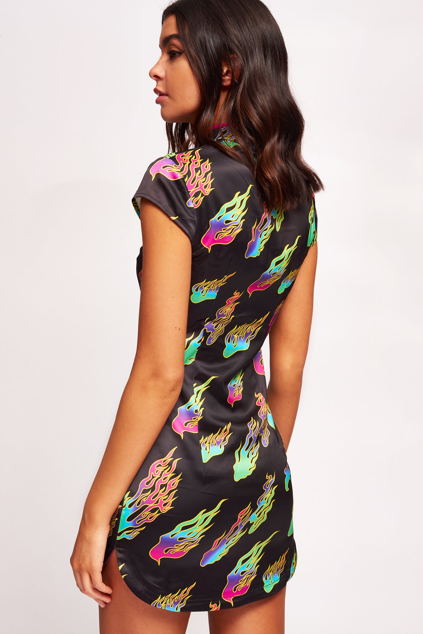 Rainbow Flame Print Cut Out High Neck  Mini Dress