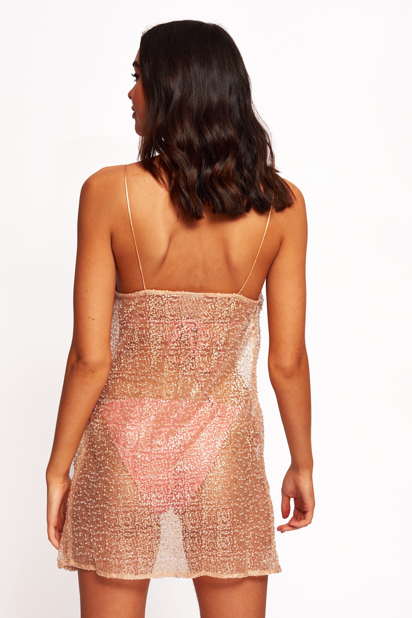 Sequin & Bead Mesh Mini Beach Dress With Cowl Front