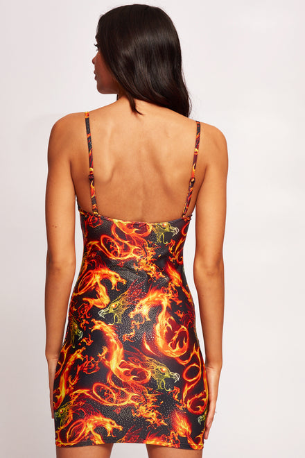 Dragon Flame Print Extreme Cup Detail Beach Dress