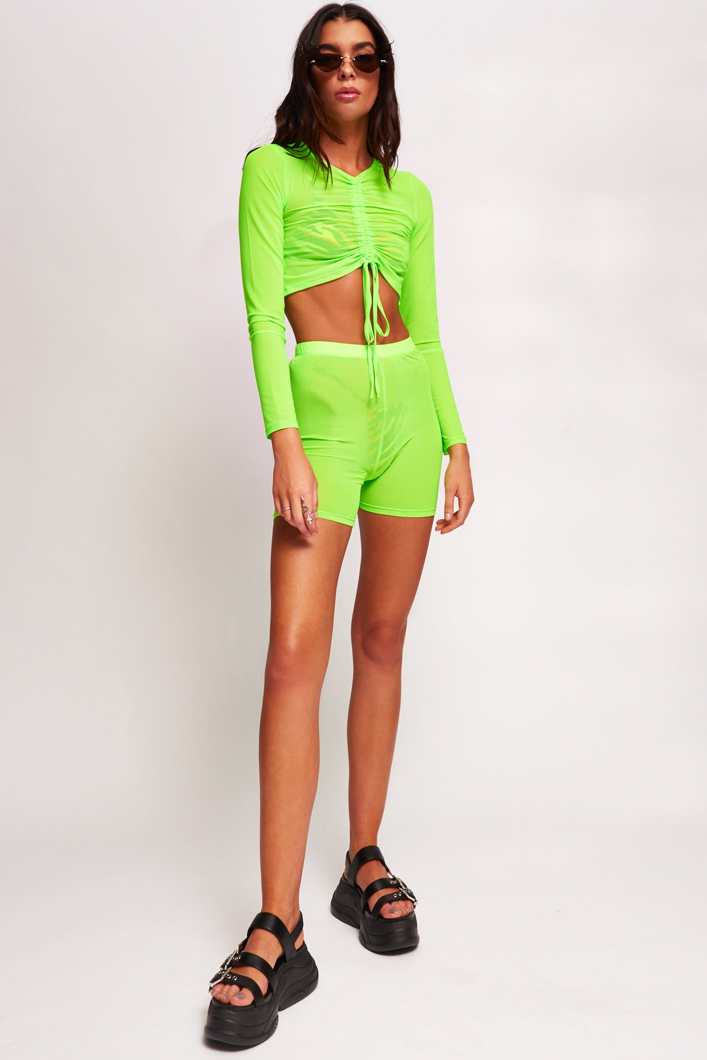 Neon Green Ruched Mesh Top