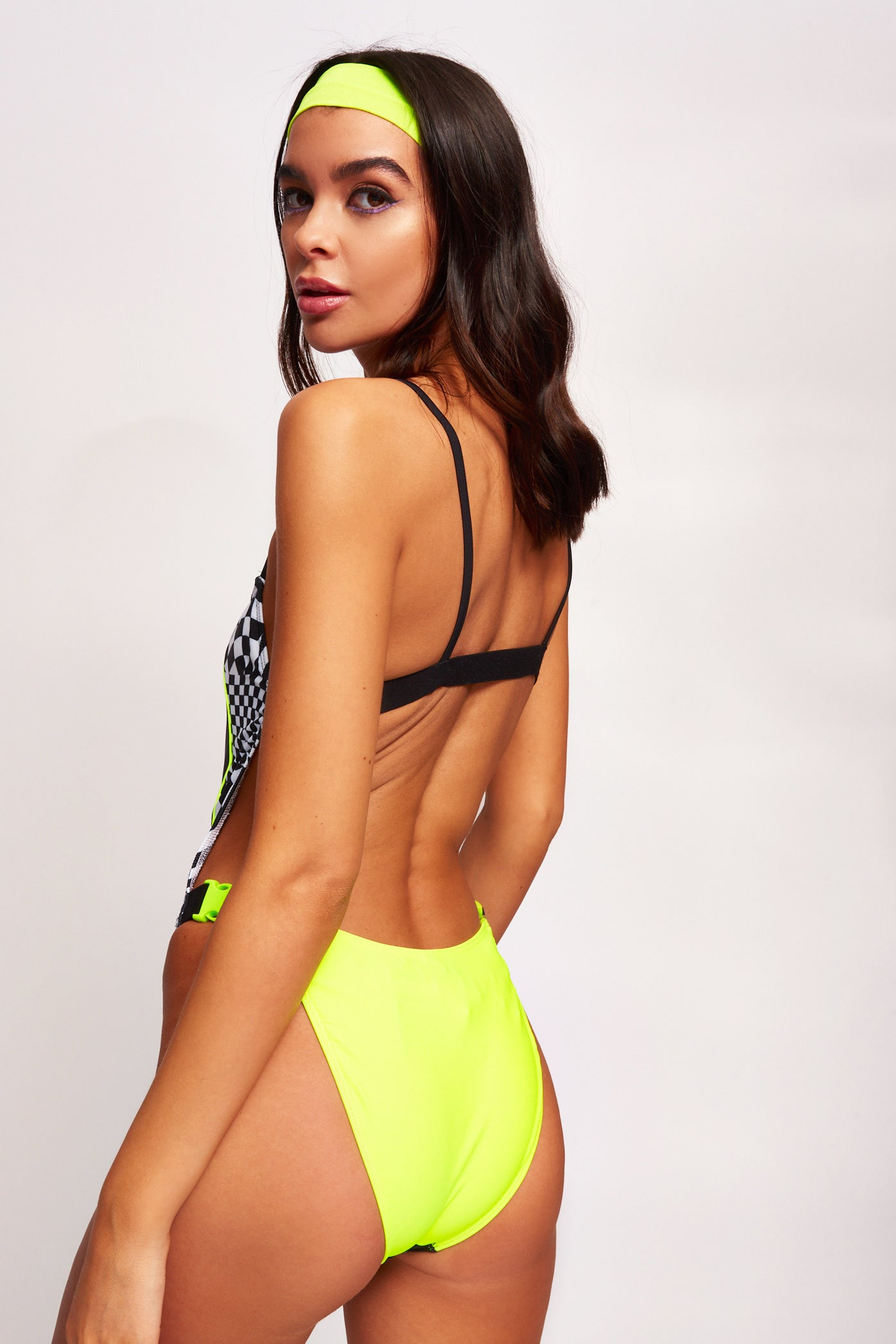 Checkerboard Square Neck Swimsuit With Side Buckle Detail