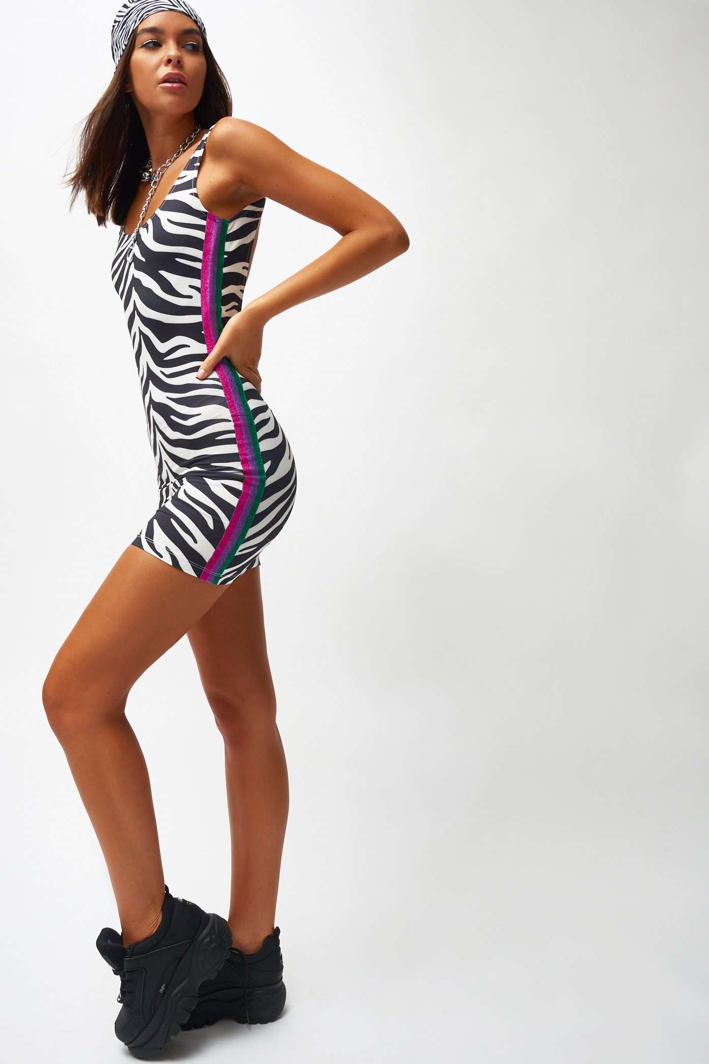 Zebra Print Square Neck Mini Dress