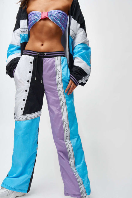 Blue Lilac White Crinkle Panelled Joggers