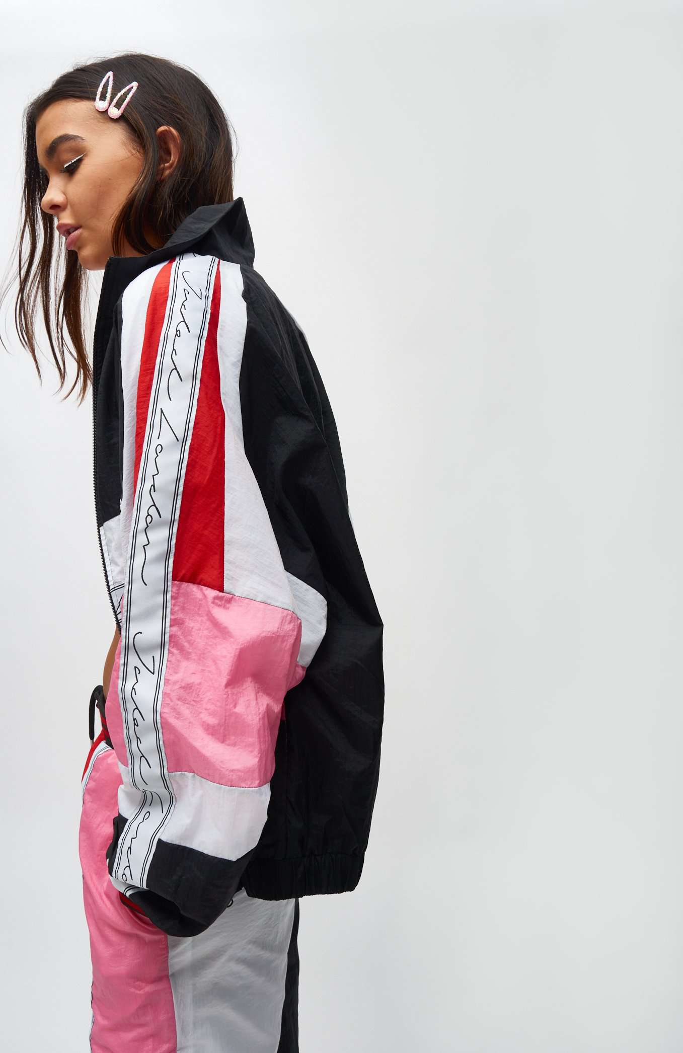 Red Pink & White Crinkle Panelled Jacket