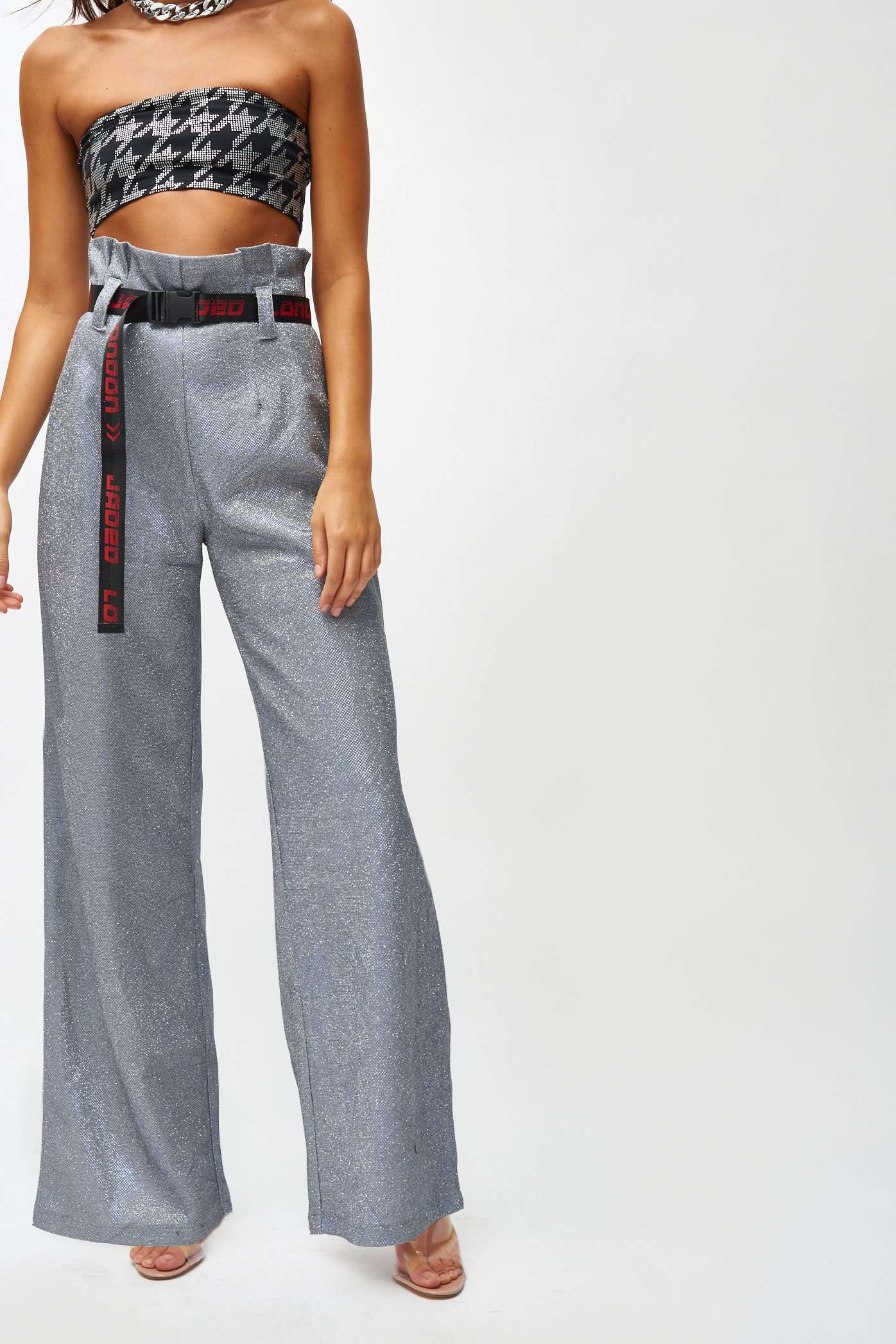 Silver Metallic Paperbag Waist Trousers