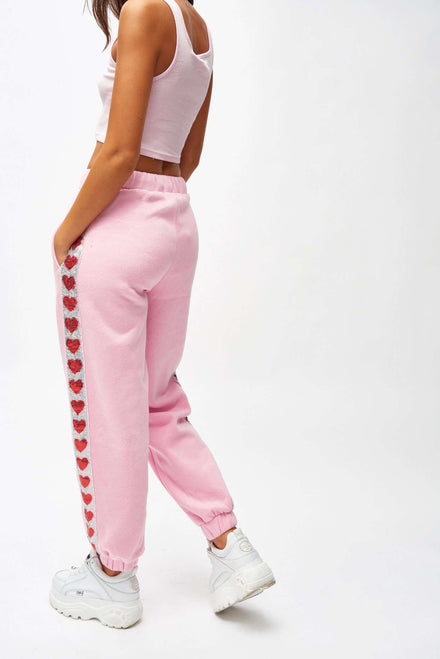 Pink Sweat Joggers With Heart Sequin Taping