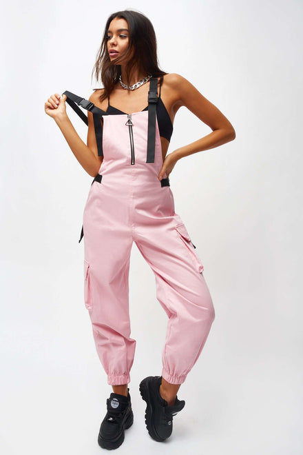 Pink Cotton Twill Overalls