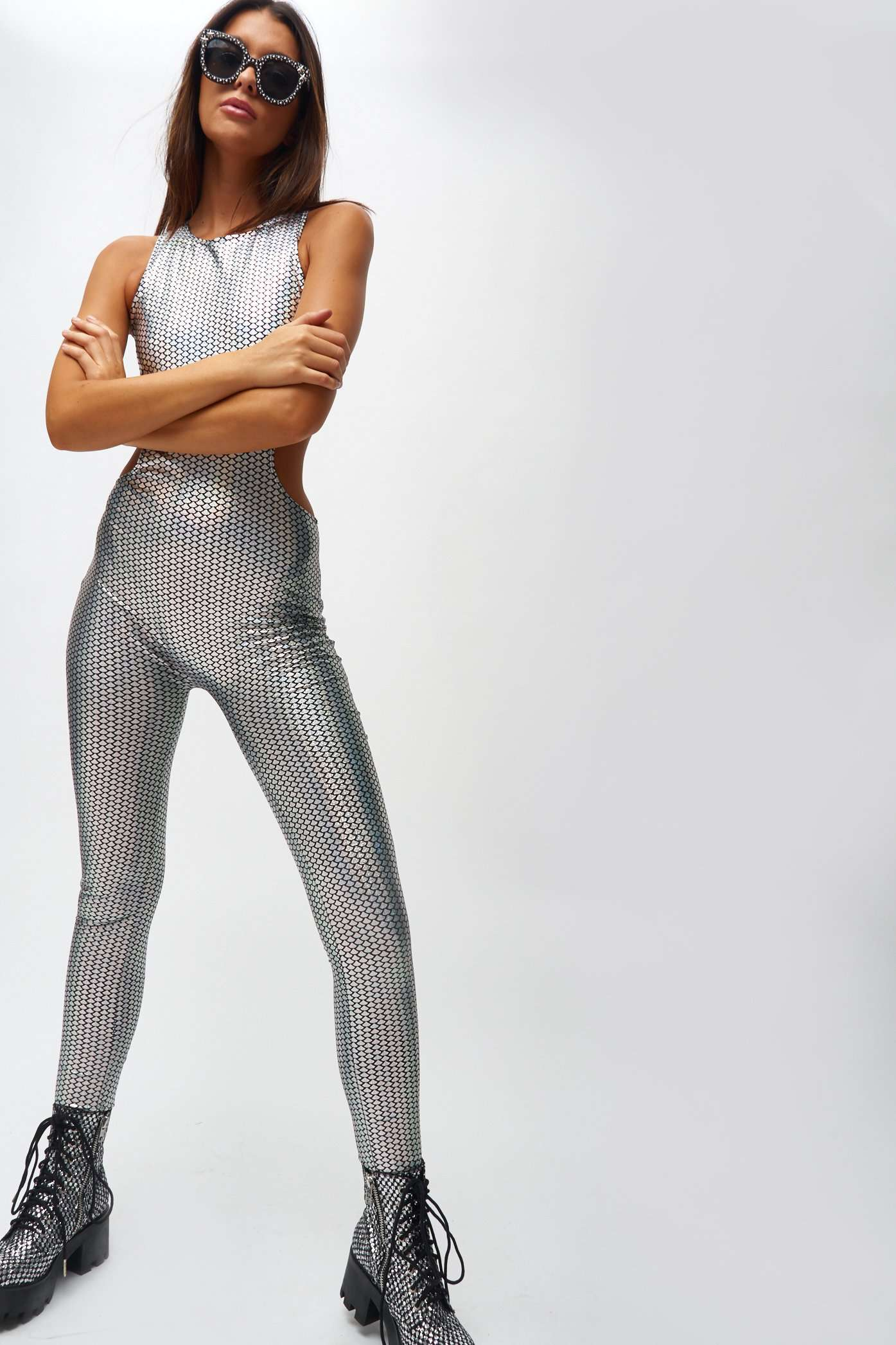 Holographic Mermaid Cut Out Catsuit