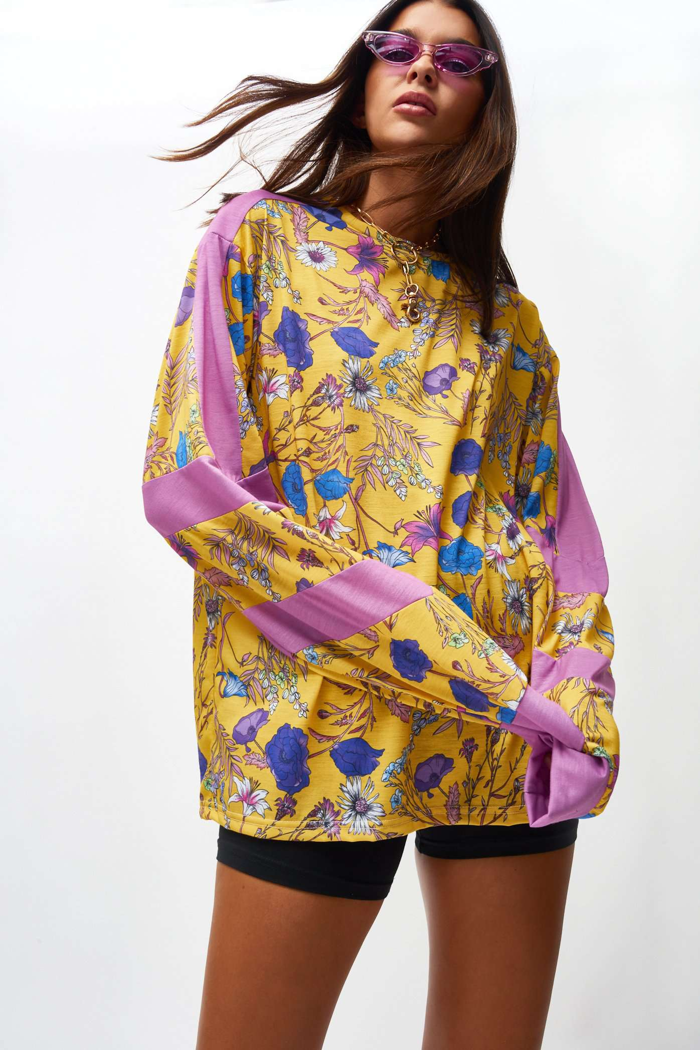 Yellow Floral Long Sleeve Tee