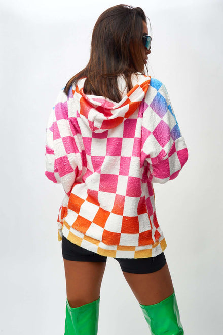 Rainbow Checkerboard Snuggle Hoody