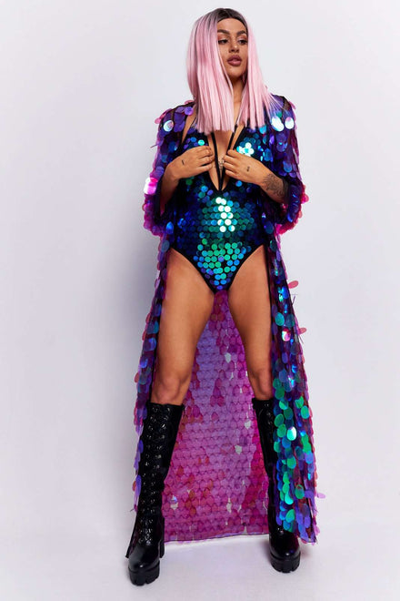 Purple Iridescent Sequin Plunge Swimsuit