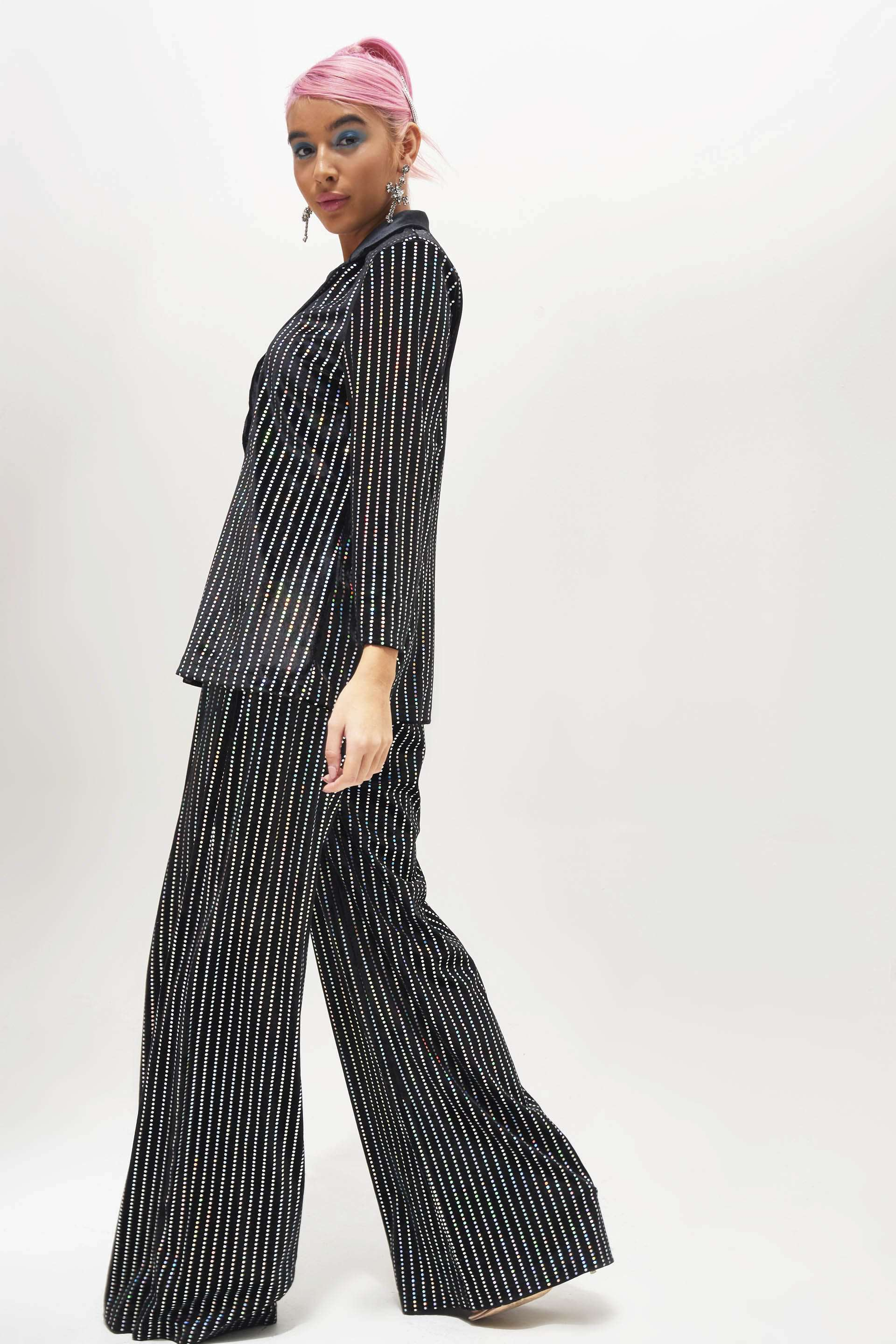 Sequin Stripe Velvet Wide Leg Trousers