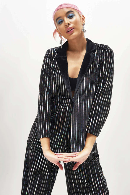 Sequin Stripe Velvet Suit Jacket