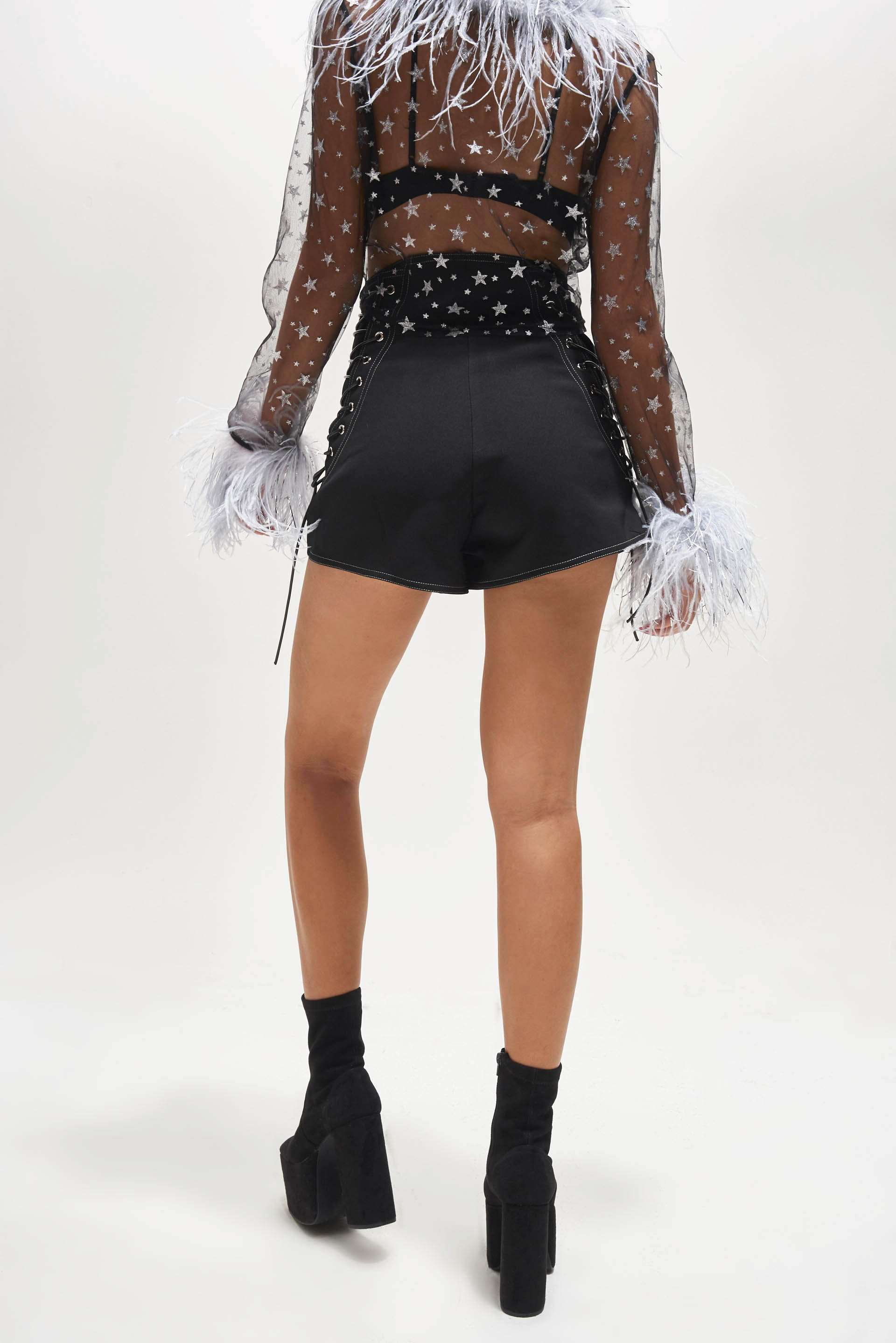 Zip Up Shorts With Lace Up Side