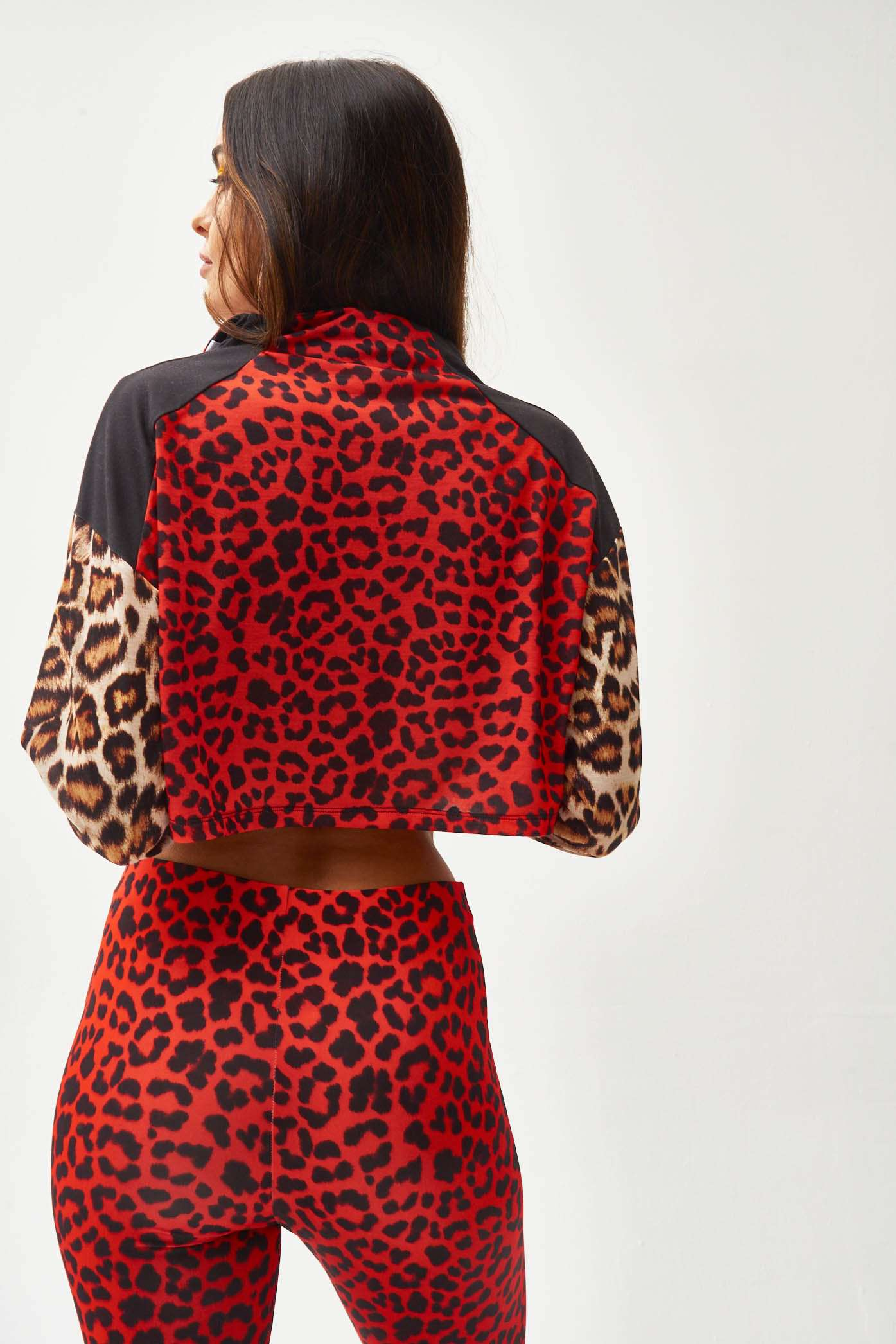 Red Leopard Zip Up Crop Top