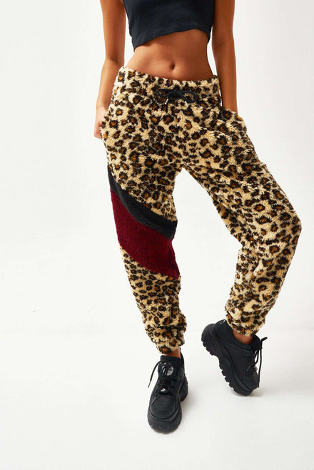 Leopard Borg Joggers With Chevron Panelling