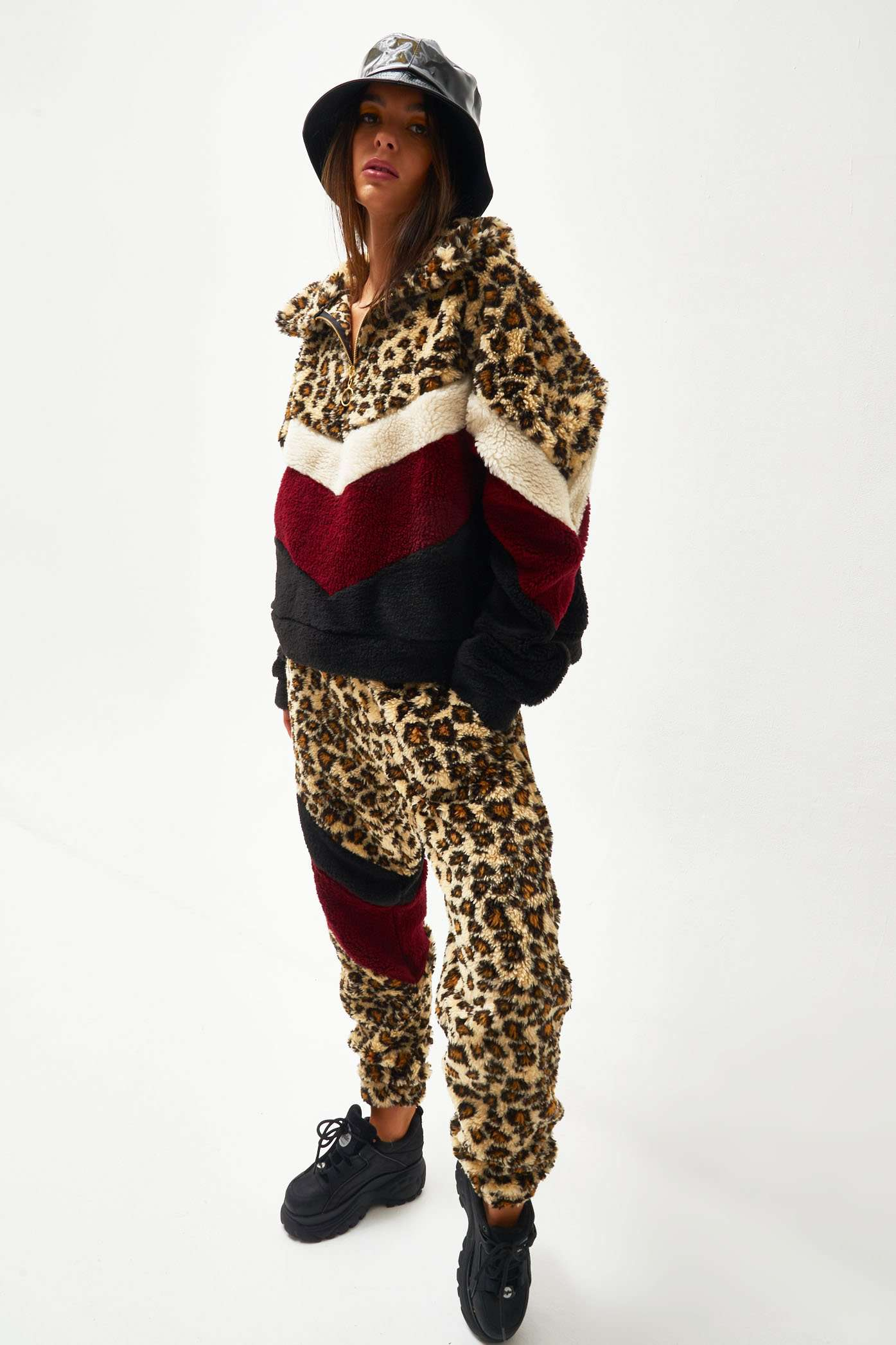 Leopard Borg Pullover Fleece With Chevron Panelling