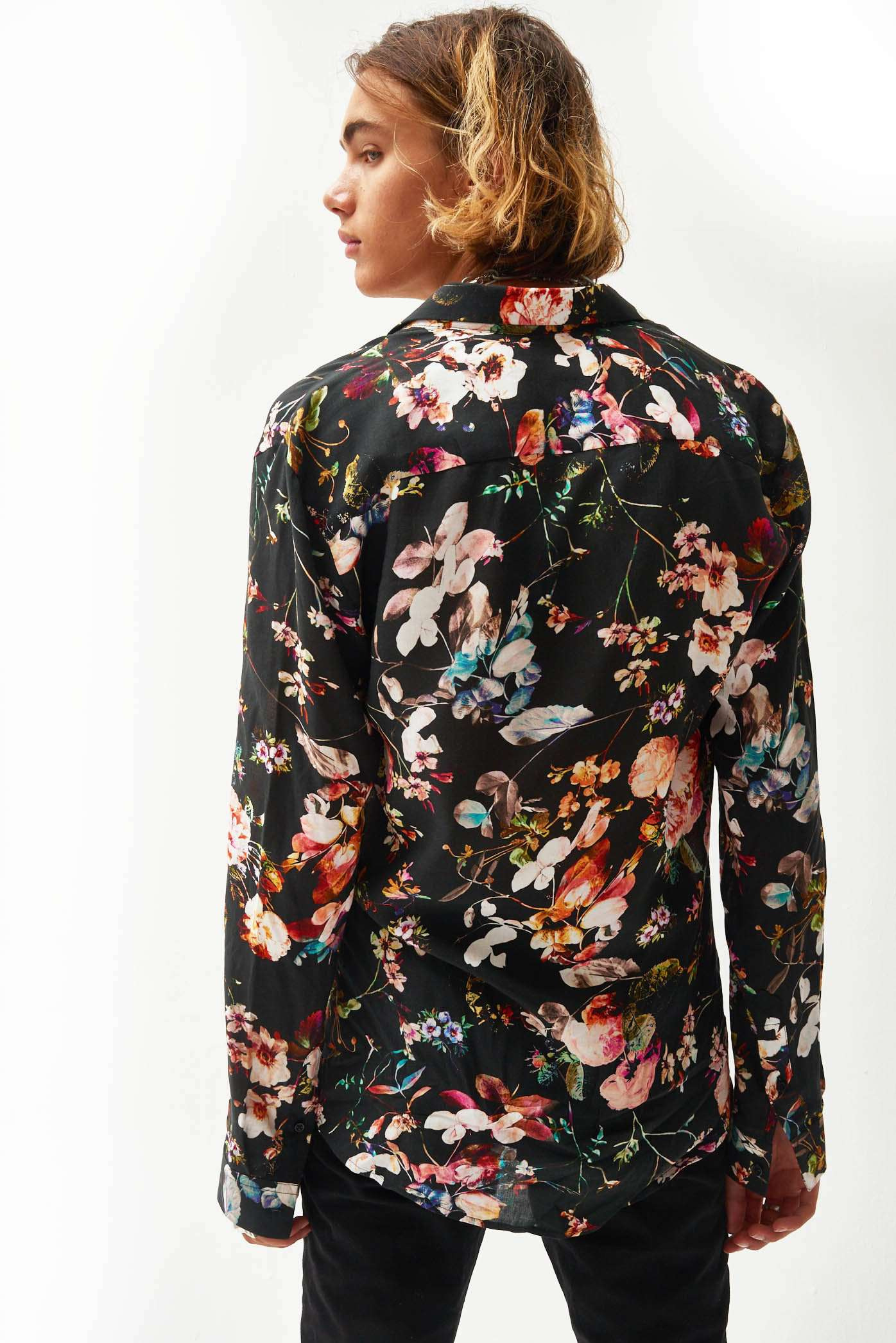 Floral Printed Viscose Long Sleeve Shirt