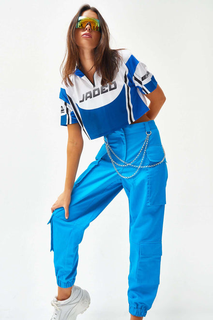 Blue Cargo Trousers With Chain Trim