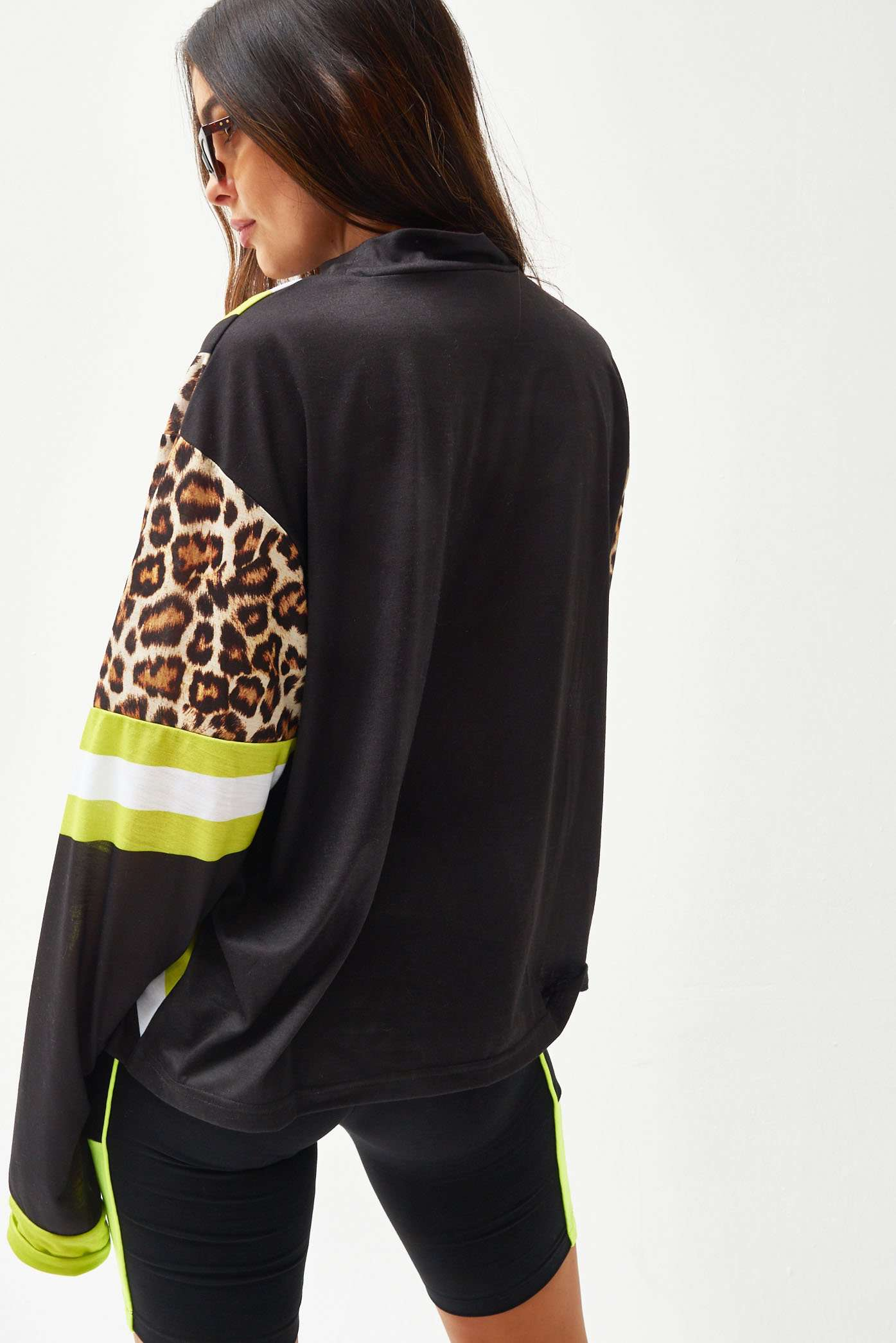 Neon High Neck Oversized Long Sleeve Tee