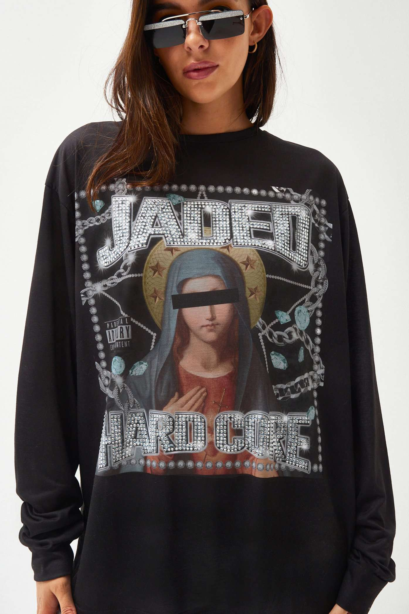 Printed Long Sleeve Tee With Diamante Detail