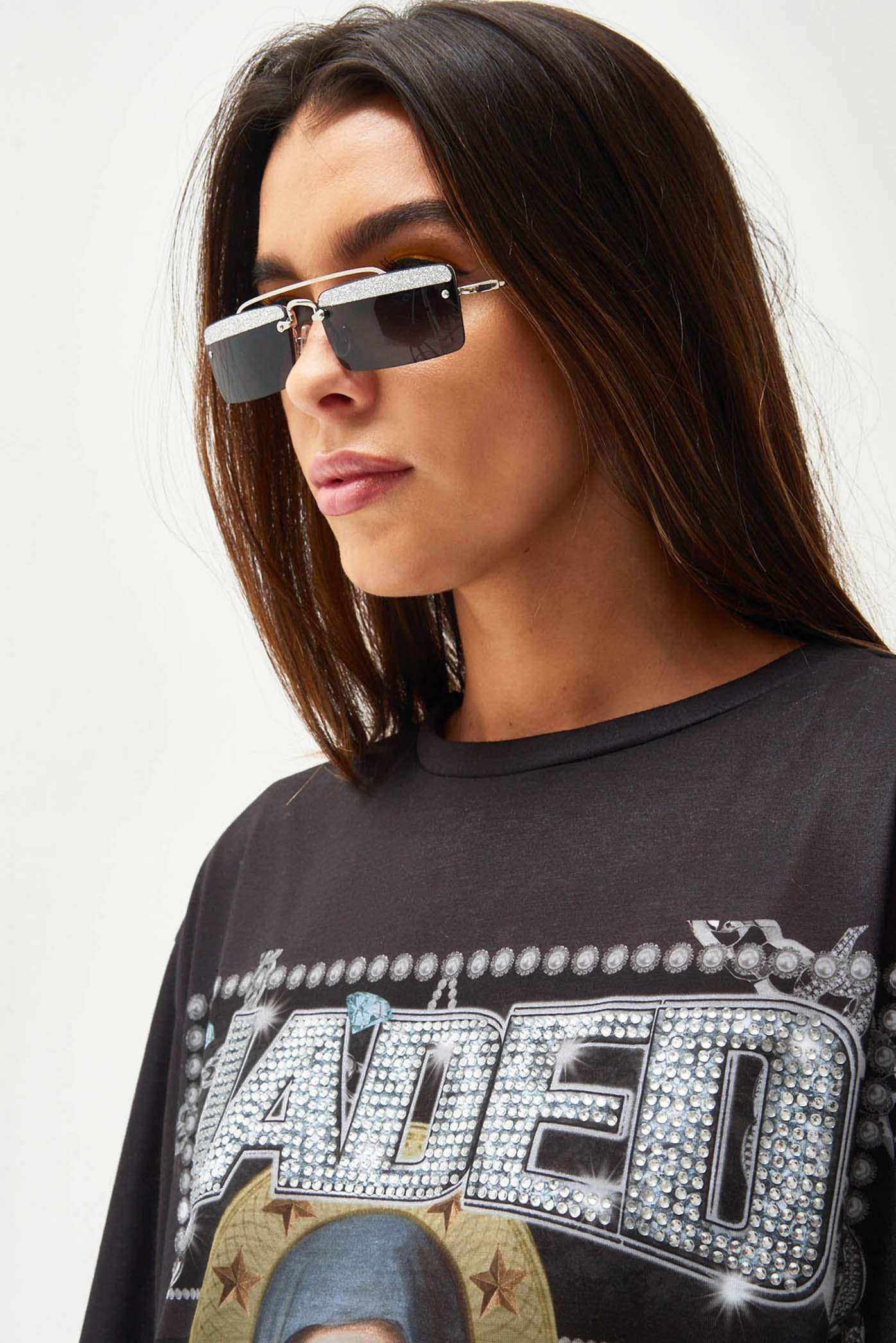 Black Glitter Square Sunglasses