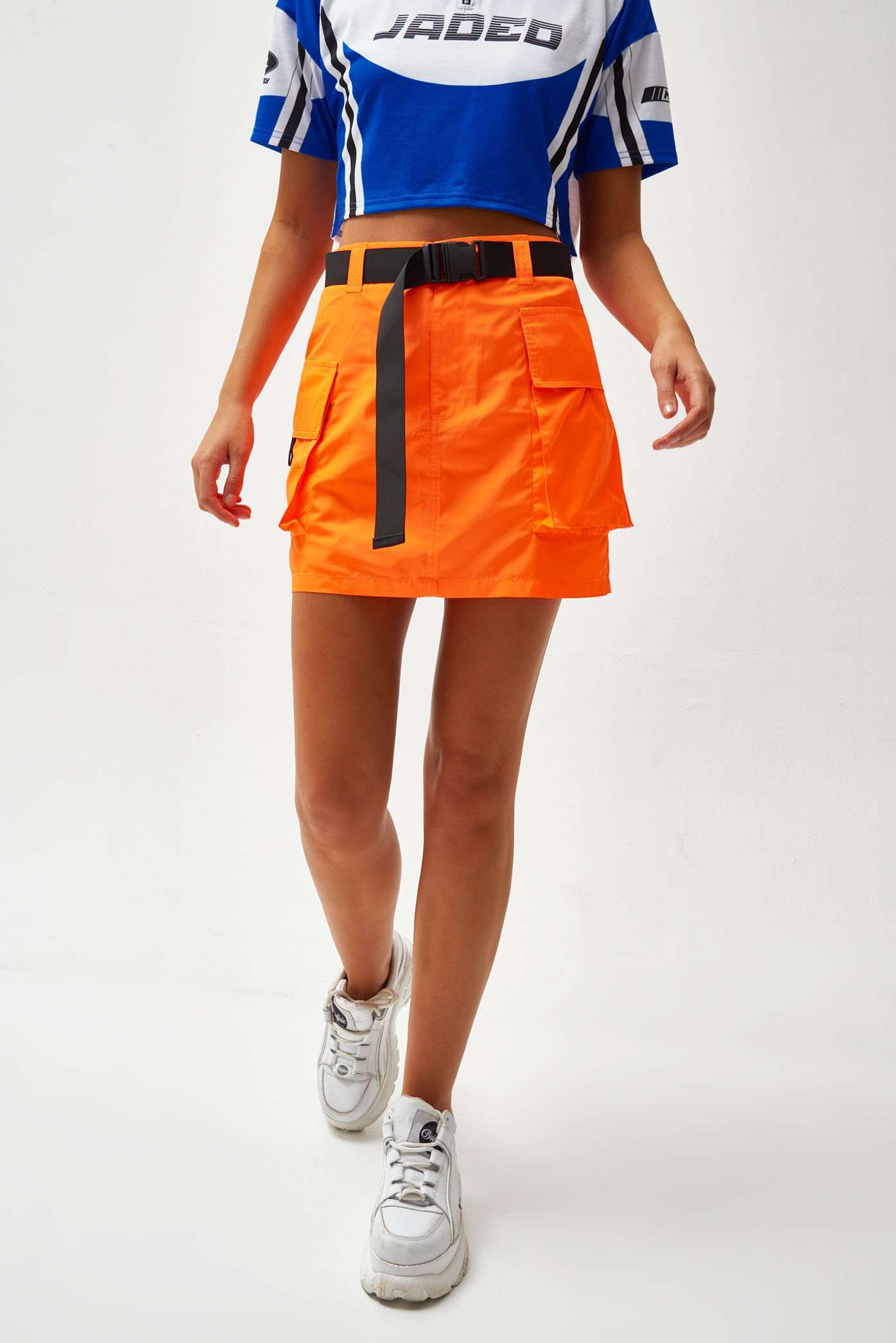 Neon Orange Cargo Skirt With Webbing Belt