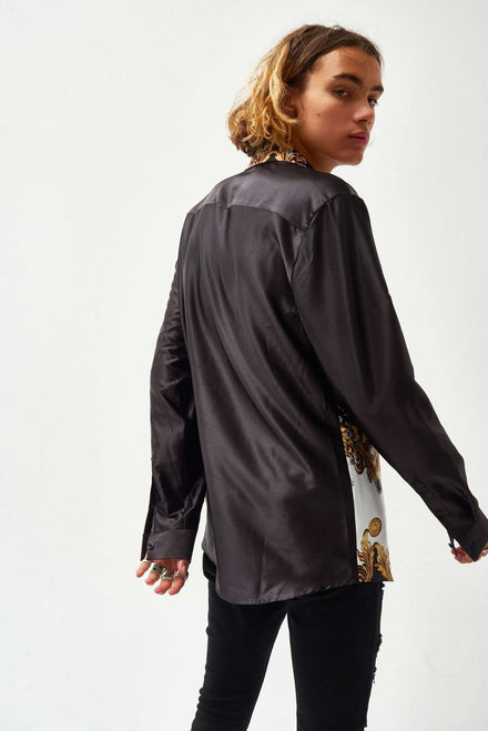 Black Satin Jewel Baroque Long Sleeve Shirt