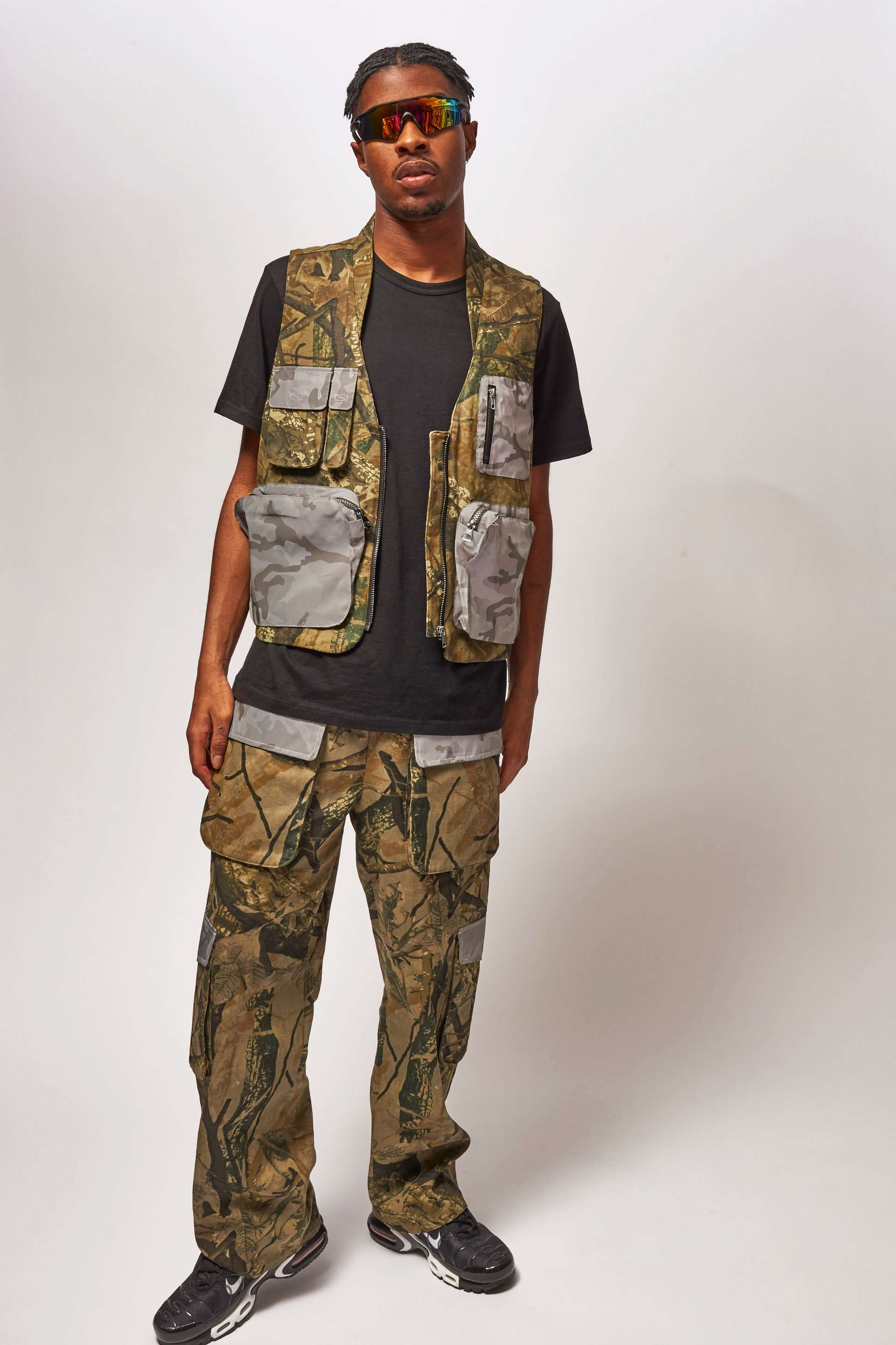Camo Print Cargo Joggers With Reflective Pocket Detail