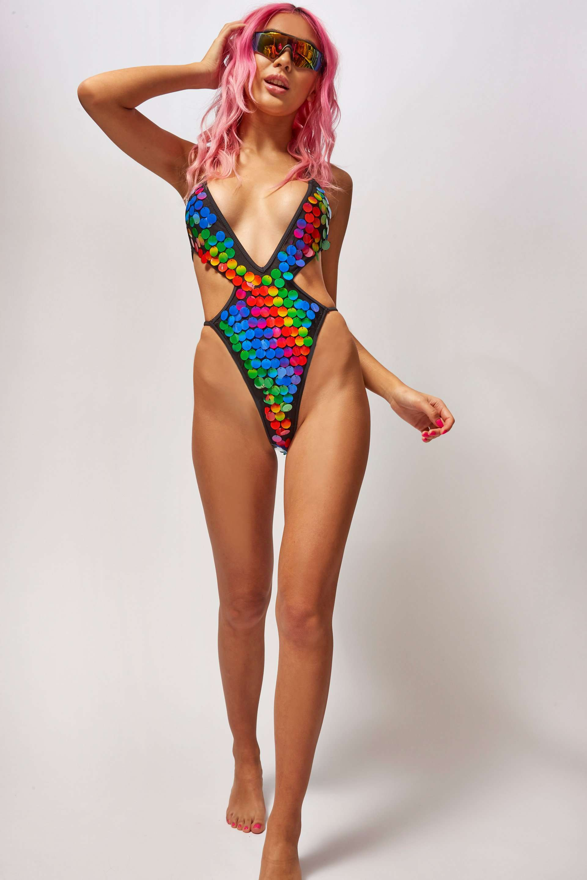 Rainbow Sequin Cut Out Plunge Swimsuit