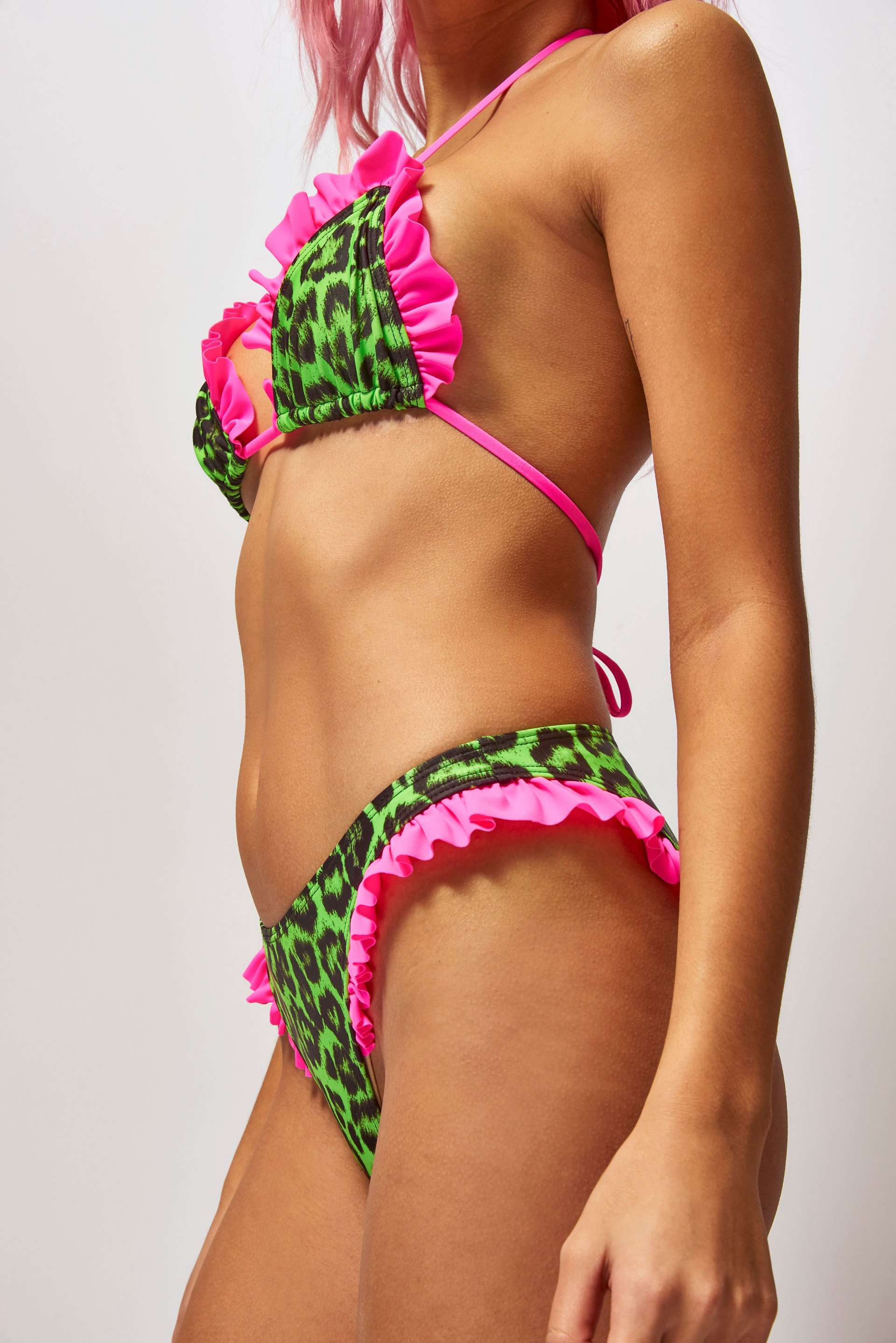 Neon Green Frill Edge Low Rise Bikini Bottoms