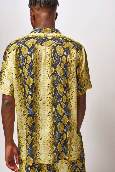 Yellow & Blue Snake Print Short Sleeve Shirt
