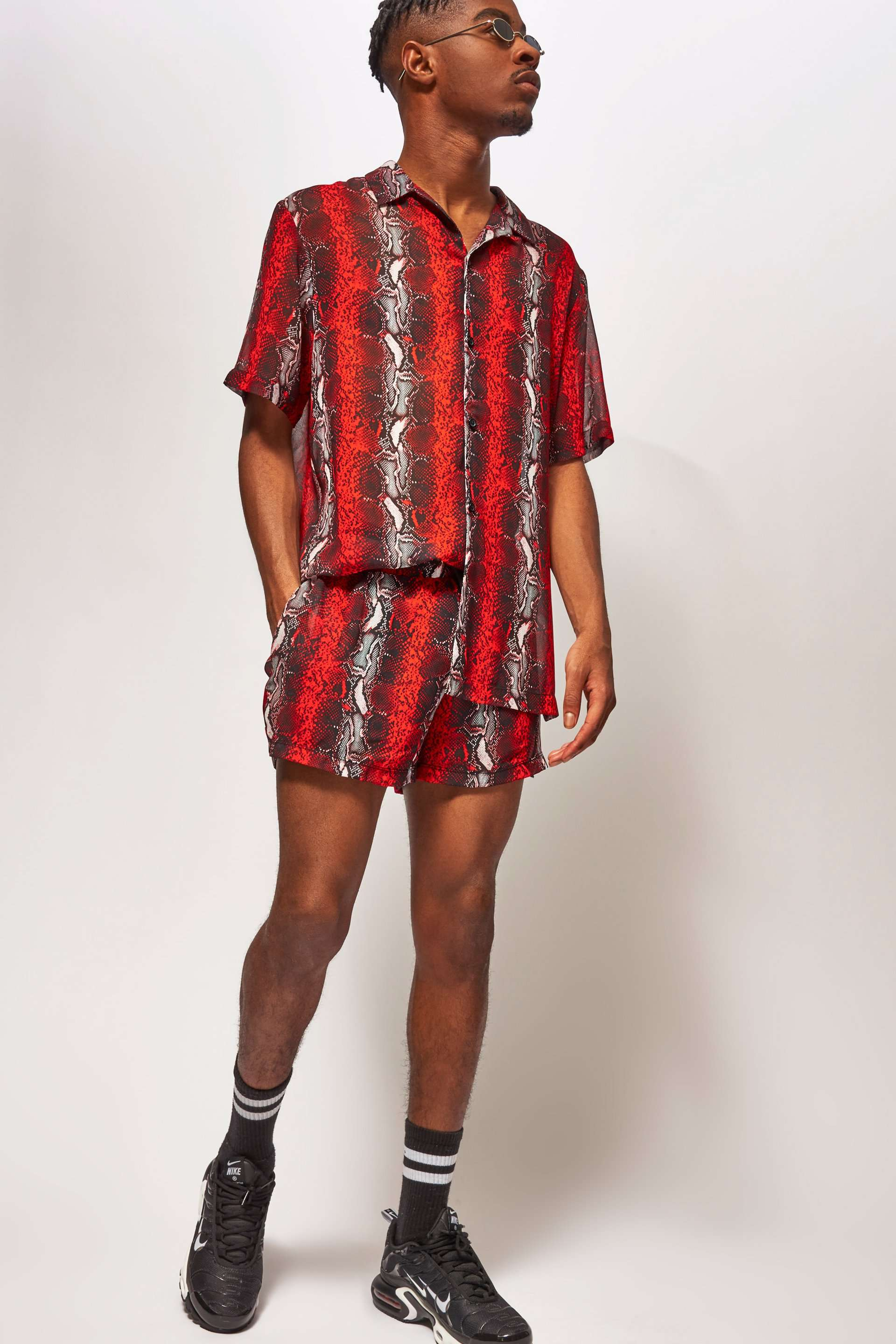 Snake Print Shirt In Sheer Fabric