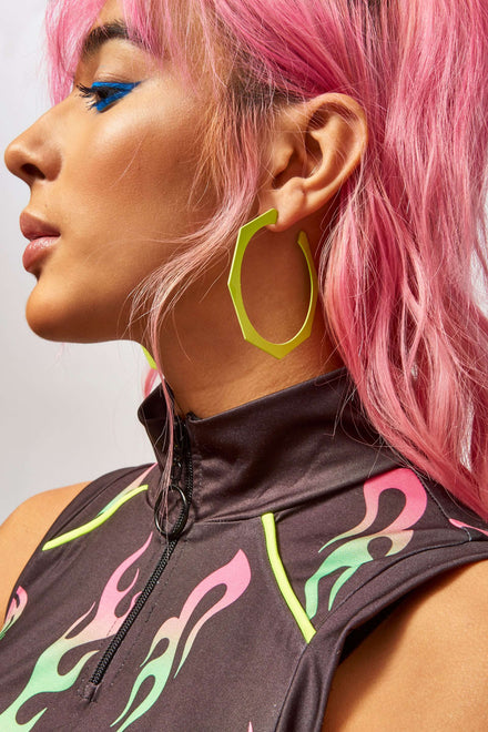 Neon Green Hexagon Earrings