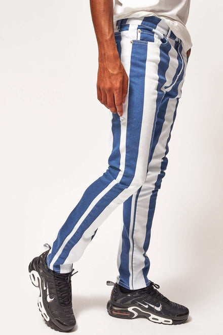 Blue & White Stripe Jeans