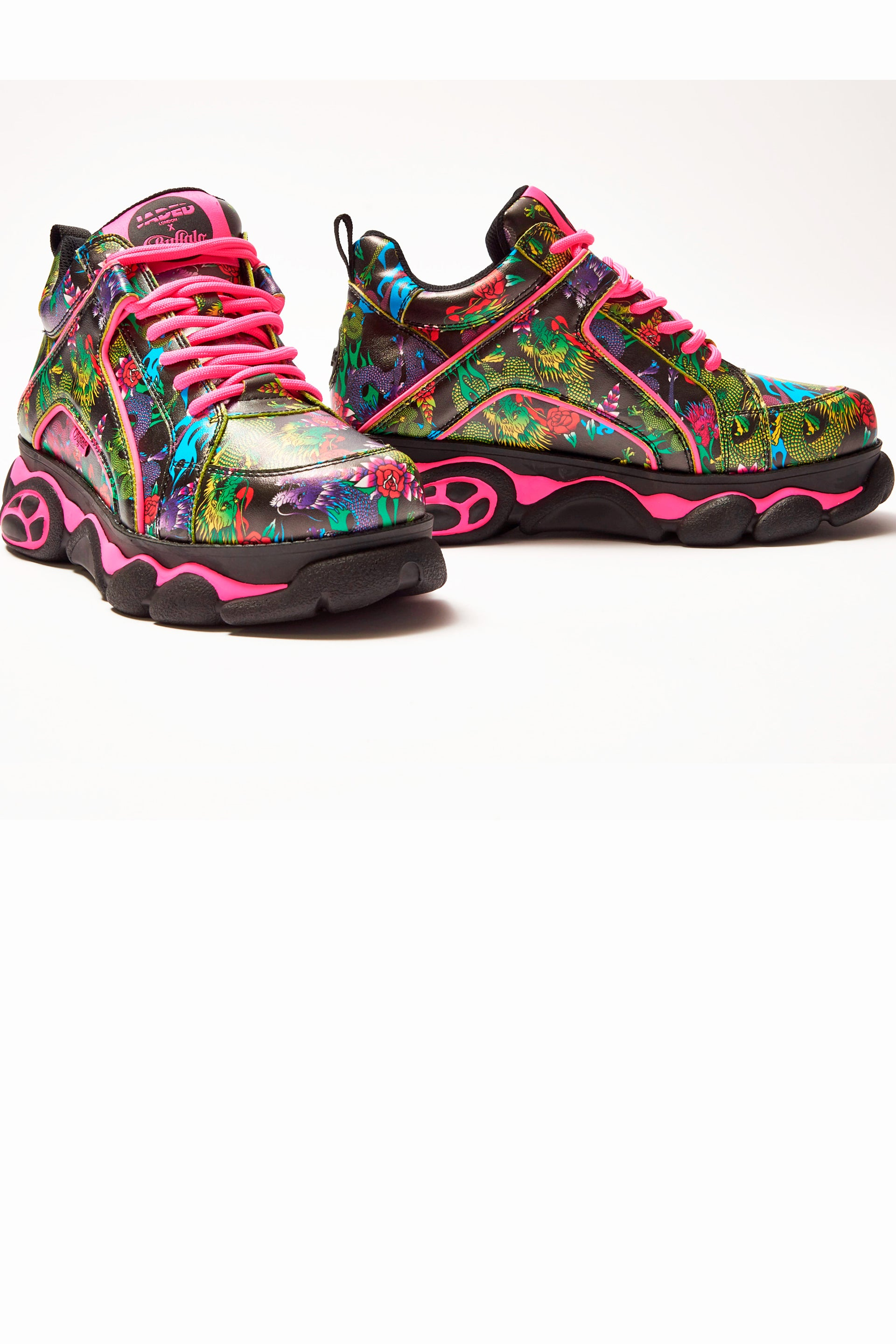 Jaded London X Buffalo Dragon Print Platform Trainers