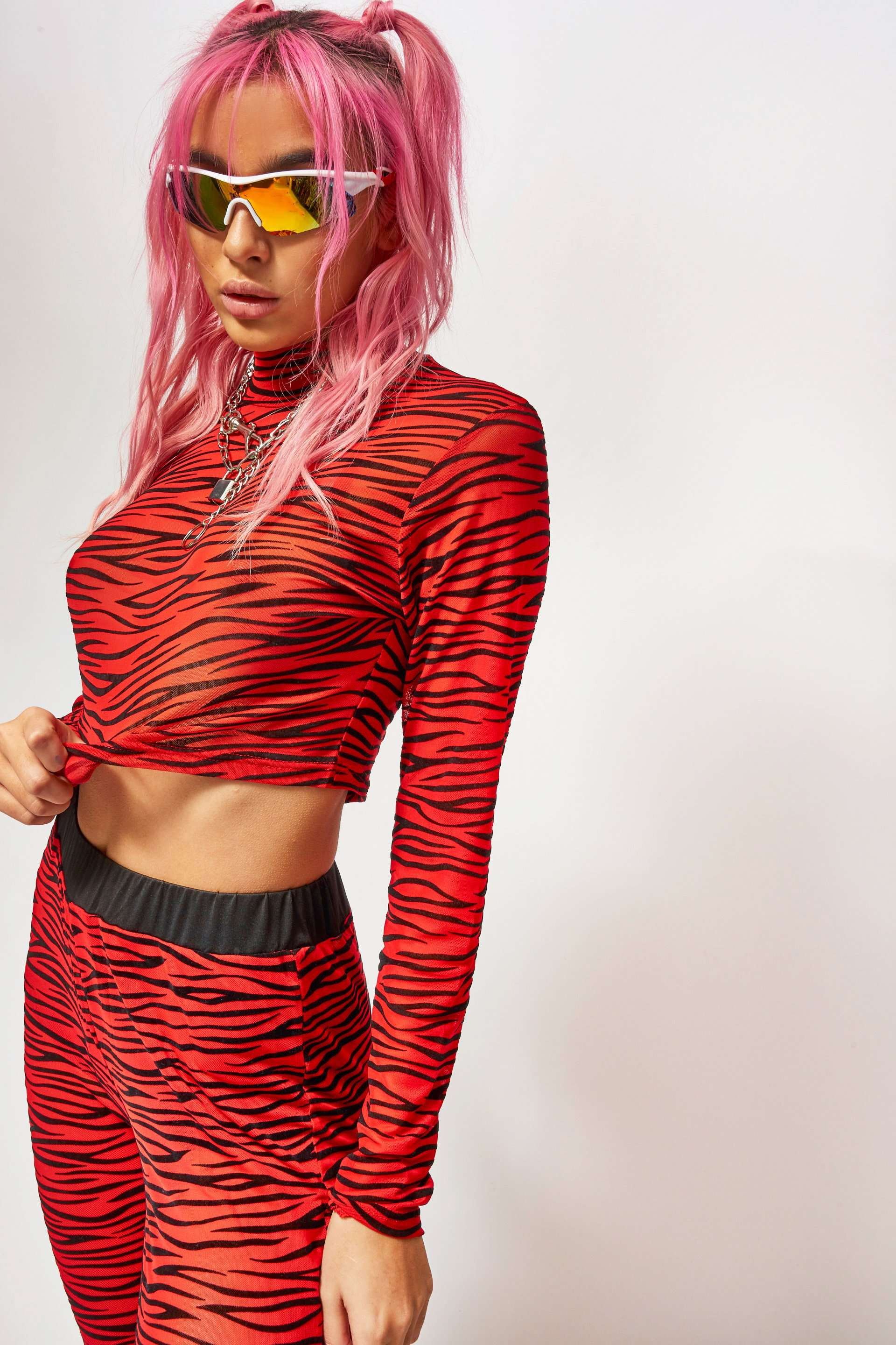 Red Zebra Mesh High Neck Long Sleeve Crop Top